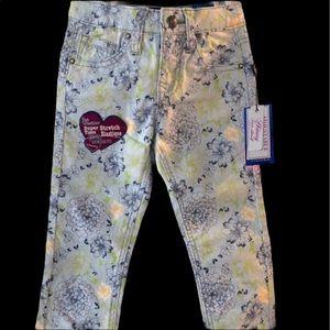 Vigoss NWT Jagger skinny blue green flower pants 4